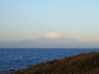 朝日を浴びている富士山