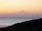 マリーナからの夕日と富士山